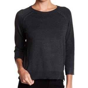 Philosophy Pointelle 3/4 Sleeve Knit Sweater Gray